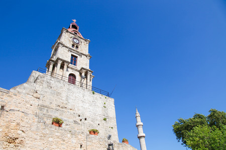 dodecanese: Clock Tower of Rhodes in the Dodecanese in Greece Stock Photo
