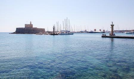 'saint nicholas': RHODES, GREECE - JUNE 12, 2015: Fort Saint Nicholas at the harbour in the city of Rhodes, Greece.