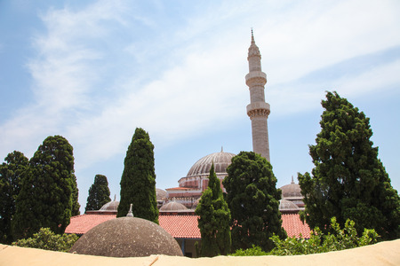 conquest: Mosque of Suleiman or Suleymaniye Mosque in Rhodes, Greece, built after the Ottoman conquest of Rhodes in 1522. Stock Photo