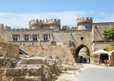 rhodes: RHODES, GREECE - JUNE 7, 2015: Palace of the Grand Master of the Knights of Rhodes, a medieval castle of the Hospitaller Knights on the island of Rhodes, Greece.