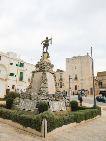 south italy: CISTERNINO, ITALY - MARCH 15, 2015: World War II monument in Cisternino, a comune in the province of Brindisi in Puglia, South Italy