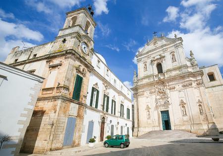 south italy: Basilica of S. Martino at the piazza Plebiscito in Martina Franca, Taranto province, South Italy. Stock Photo