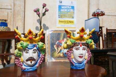 fleamarket: MARTINA FRANCA, ITALY - MARCH 15, 2015: Typical handmade ceramic at a flea market in Martina Franca, Taranto province, South Italy. Editorial