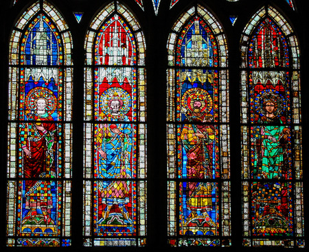 heir: STRASBOURG, FRANCE - MAY 9, 2015: Stained glass depicting Holy Roman Emperor Lothar I (795-855) and his three sons and heirs Louis II, Lothar II and Charles in the cathedral of Strasbourg, France