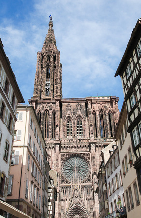 collegial: Famous sandstone Notre Dame Cathedral in Strasbourg, capital of the Alsace region in France. It was the worlds tallest building from 1647 to 1874.