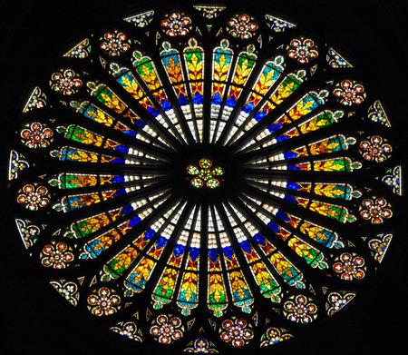 notre dame cathedral: STRASBOURG, FRANCE - MAY 9, 2015: Rose window in the Notre Dame cathedral of Strasbourg, France