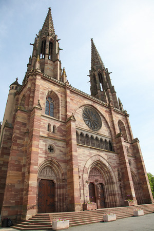 des vins: Church of St. Peter and St. Paul in the center of Obernai, Alsace, France