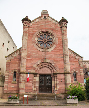 des vins: Facade of the Synagogue in Obernai, Alsace, France, reconstructed in 1948.