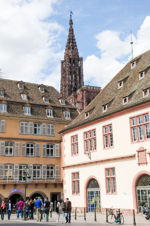 collegial: STRASBOURG, FRANCE - MAY 9, 2015:  Tower of the Notre Dame Cathedral in Strasbourg, capital of the Alsace region in France. It was the worlds tallest building from 1647 to 1874. Editorial