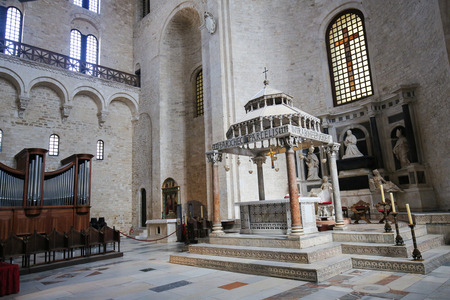 'saint nicholas': Ciborium (created around 1110) of the Basilica of Saint Nicholas, a church dedicated to Saint Nicholas of Smyrna, a famous pilgrimage site in Bari, Puglia, Southern Italy Editorial