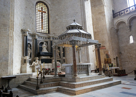 smyrna: Ciborium (created around 1110) of the Basilica of Saint Nicholas, a church dedicated to Saint Nicholas of Smyrna, a famous pilgrimage site in Bari, Puglia, Southern Italy Editorial
