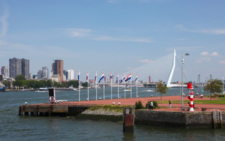 wilhelmina: ROTTERDAM, THE NETHERLANDS - AUGUST 9, 2015: View on the city center by the Nieuwe Maas in Rotterdam, South Holland, The Netherlands.