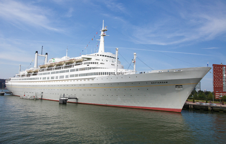 cruiseship: ROTTERDAM, THE NETHERLANDS - AUGUST 9, 2015: White Cruise Ship in the Port of Rotterdam, South Holland, The Netherlands. Editorial