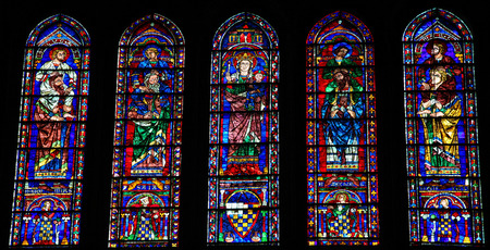 the prophets: CHARTRES, FRANCE - JULY 21, 2015: Stained Glass with Mother Mary, the Four Evangelists and Four Prophets in the Cathedral of Our Lady of Chartres, France