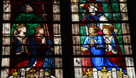 devote: CHARTRES, FRANCE - JULY 21, 2015: Stained Glass window of Louis of Bourbon in the Vendome Chapel in the Cathedral of Our Lady of Chartres, France