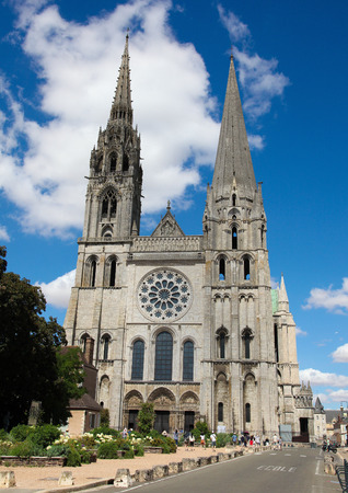 chartres: CHARTRES, FRANCE - JULY 21, 2015:  Cathedral of Our Lady of Chartres, a medieval Catholic cathedral in Chartres, France, about 80 kilometers southwest of Paris.