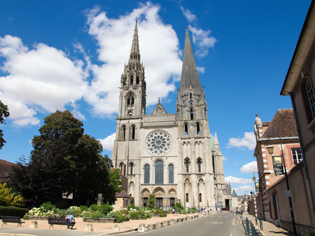 catholic: CHARTRES, FRANCE - JULY 21, 2015:  Cathedral of Our Lady of Chartres, a medieval Catholic cathedral in Chartres, France, about 80 kilometers southwest of Paris.