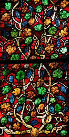 castille: LEON, SPAIN - JULY 17, 2014: Stained glass window in the cathedral of Leon, Castille and Leon, Spain.