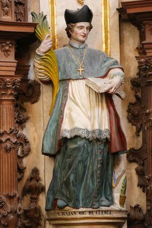 castille: BURGOS, SPAIN - AUGUST 13, 2014: Statue of Saint Julian of Cuenca (1127-1208) in the Cathedral of Burgos, Castille, Spain.