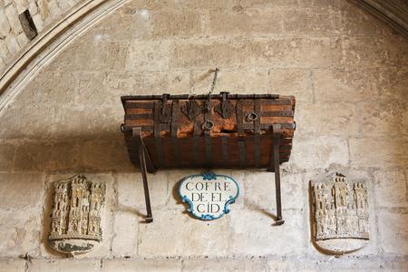national hero: BURGOS, SPAIN - AUGUST 13, 2014: Chest of El Cid, Rodrigo Diaz de Vivar (c. 1043-1099), national hero of Castile, in the Cathedral of Burgos, Castille, Spain
