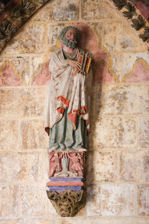 castille: BURGOS, SPAIN - AUGUST 13, 2014: Statue of Saint Peter holding the Keys to Heaven in the Cathedral of Burgos, Castille, Spain