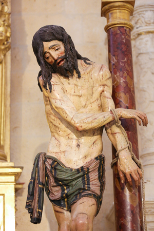 castille: BURGOS, SPAIN - AUGUST 13, 2014: Statue of Jesus on Good Friday in the Chapel of Saint John the Baptist and Saint James in the Cathedral of Burgos, Castille, Spain