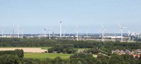 cleantech: Panoramic view of wind turbines near Brielle, the Netherlands. Stock Photo