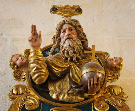 polychrome: BURGOS, SPAIN - AUGUST 13, 2014: Polychrome Statue in the Cathedral of Burgos, Castile, Spain