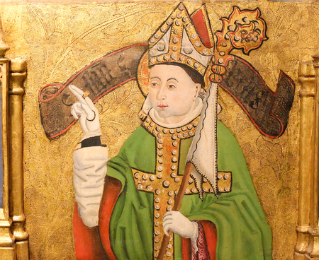 mitre: BURGOS, SPAIN - AUGUST 13, 2014: Painting of a bishop with a mitre and crozier in the Cathedral of Burgos, Castille, Spain