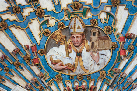 castille: BURGOS, SPAIN - AUGUST 13, 2014: Colorful sculpture of a Bishop in the Cathedral of Burgos, Castille, Spain Editorial
