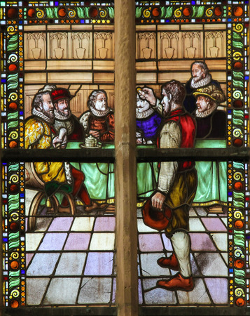 beggars: BRIELLE, THE NETHERLANDS - AUGUST 8, 2015: Stained glass window depicting the Liberation or Capture of Brielle, also known as Den Briel. In 1572, the Sea Beggars (Watergeuzen) drove out the Spanish of this town near Rotterdam. Editorial