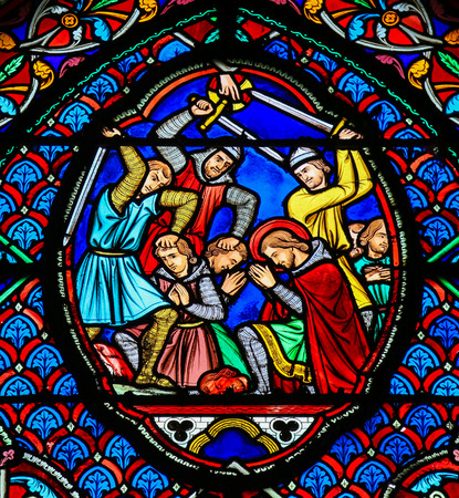 Stained glass window depicting Martyrs in the Saint Gatien Cathedral of Tours, France.