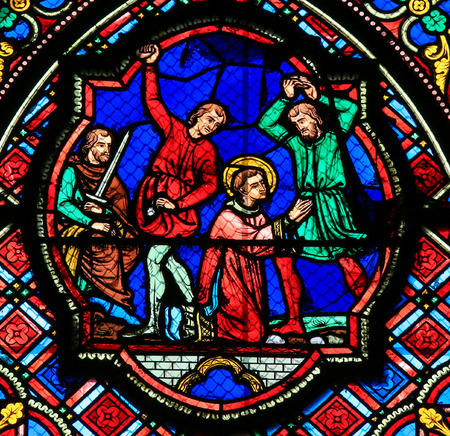 martyr: Stained glass window depicting the death of a martyr in the Saint Gatien Cathedral of Tours, France.