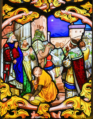 three kings: Stained glass window depicting the Three Kings, in the Cathedral of Tours, France.