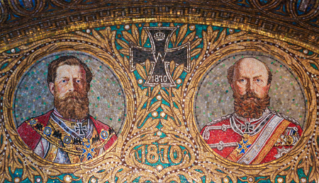 generals: GEROLSTEIN, GERMANY - OCTOBER 10, 2015: Mosaic of two Generals of the Franco-Prussian War of 1870 and an Iron Cross in the Redeemer Church of Gerolstein in the Vulkaneifel district in Germany.