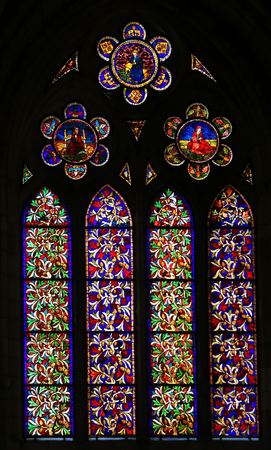 depicting: LEON, SPAIN - AUGUST 12, 2014: Stained Glass window depicting branches of leaves in the Cathedral of Leon in Castile and Leon, Spain.