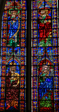 castile leon: LEON, SPAIN - AUGUST 12, 2014: Stained Glass window depicting Catholic Saints in the Cathedral of Leon in Castile and Leon, Spain. Editorial