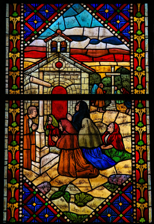 castille: LEON, SPAIN - JULY 17, 2014: Stained glass window depicting Pilgrims on the Road of Saint James to Santiago de Compostela in the cathedral of Leon, Castille and Leon, Spain.
