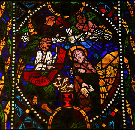 leon: LEON, SPAIN - JULY 17, 2014: Stained glass window depicting The Visitation in the cathedral of Leon, Castille and Leon, Spain. Editorial