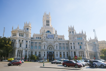 cibeles: MADRID, SPAIN - NOVEMBER 14, 2015: Cybele Palace (City Hall) at the Plaza de Cibeles in Madrid, Spain Editorial