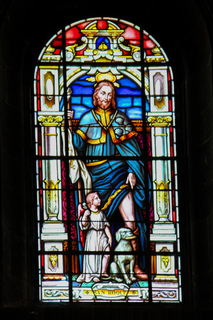 milion: Stained Glass depicting Saint Roch or Roque in the church of Santa Ana in Garachico, Tenerife, Canary Islands, Spain