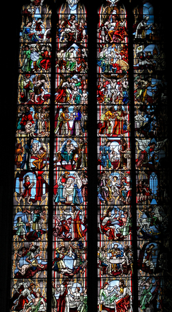 parable: COLOGNE, GERMANY - APRIL 21, 2010: Scenes in the life of Jesus Christ, church window in Cologne Cathedral.