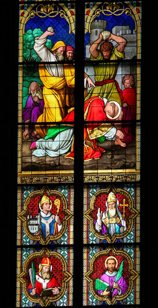 missionary: COLOGNE, GERMANY - APRIL 21, 2010: Stained Glass depicting the Stoning of Saint Stephen in Dom of Cologne, Germany.