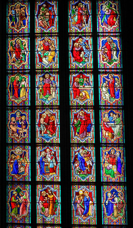 new testament: COLOGNE, GERMANY - APRIL 21, 2010: Scenes in the life of Jesus Christ, church window in Cologne Cathedral.