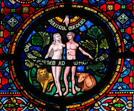 DINANT, BELGIUM - OCTOBER 16, 2011: Creation of Adam and Eve, stained glass window in the church of Dinant, Belgium. Imagens - 55767017