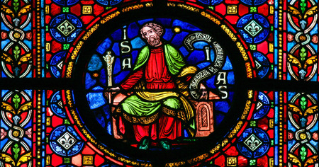 prophet: DINANT, BELGIUM - OCTOBER 16, 2011: Stained glass window depicting the prophet Isaiah in the cathedral of Dinant, Belgium. Editorial