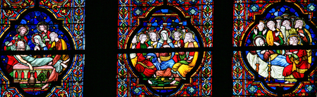 pentecost: DINANT, BELGIUM - OCTOBER 16, 2011 Stained glass window depicting the burial of Jesus, Pentecost and the burial of Mother Mary, in the Notre Dame church in Dinant, Belgium