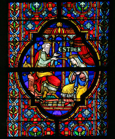 persia: DINANT, BELGIUM - OCTOBER 16, 2011 Stained glass window depicting Esther, biblical queen of Persia, in the Notre Dame church in Dinant, Belgium