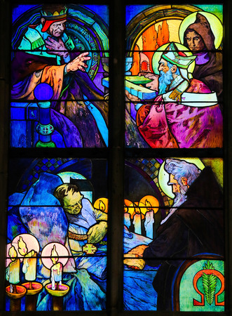 theology: PRAGUE, CZECH REPUBLIC - APRIL 2, 2016: Stained Glass window in St. Vitus Cathedral, Prague, designed by Alphonse Mucha, depicting Saints Cyril and Methodius