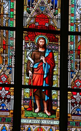 johannes: PRAGUE, CZECH REPUBLIC - APRIL 2, 2016: Stained Glass window in St. Vitus Cathedral, Prague, depicting Saint John the Baptist